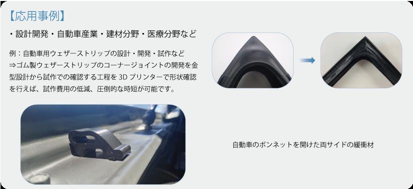 例:自動車用ウェザーストリップの設計・開発・試作など ⇒ゴム製ウェザーストリップのコーナージョイントの開発を金型設計から試作での確認する工程を3Dプリンターで形状確認を行えば、試作費用の低減、圧倒的な時短が可能です。